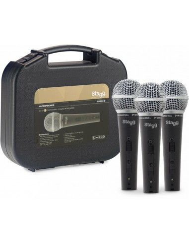 Stagg SDM50 Bundle Pack of 3 Vocalist Dynamic Microphones