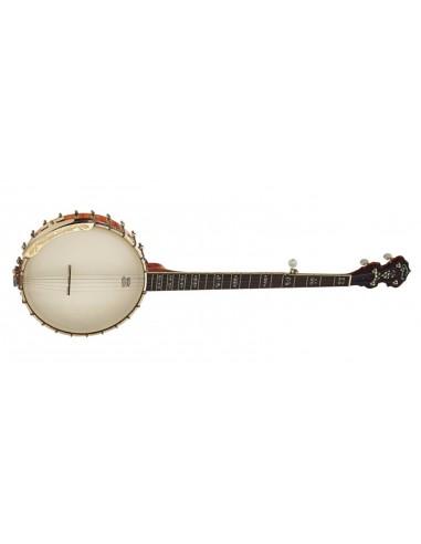 Ozark 5 String Flamed Maple Gold Banjo W/Bag