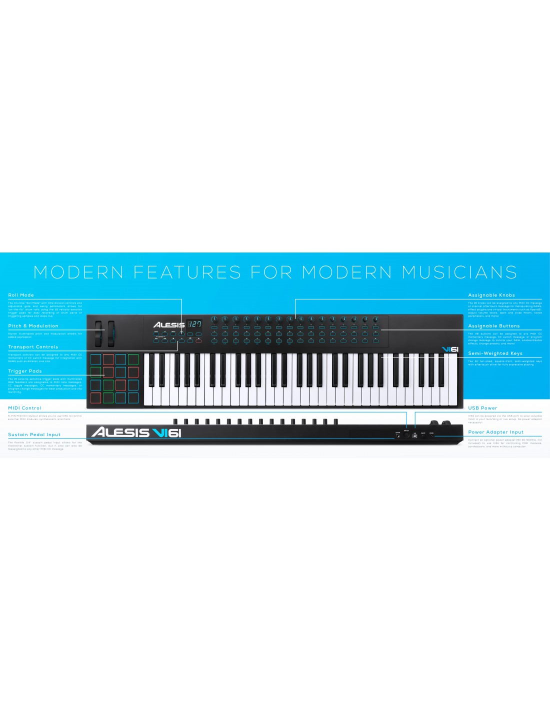 alesis vi61 61 key midi controller keyboard. Black Bedroom Furniture Sets. Home Design Ideas