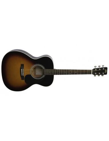SX OM160 Folk Sized Acoustic Guitar - Vintage Suburst